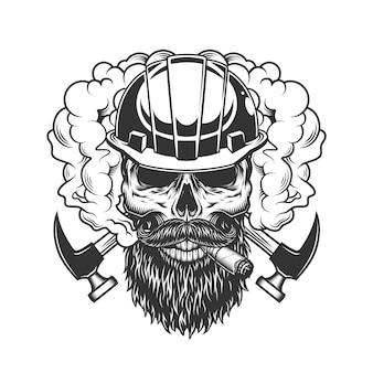 Vintage monocromo constructor cráneo en humo
