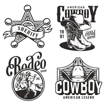 Vintage monocromo emblemas del salvaje oeste