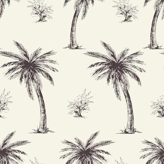 Vintage monocromo palma de patrones sin fisuras