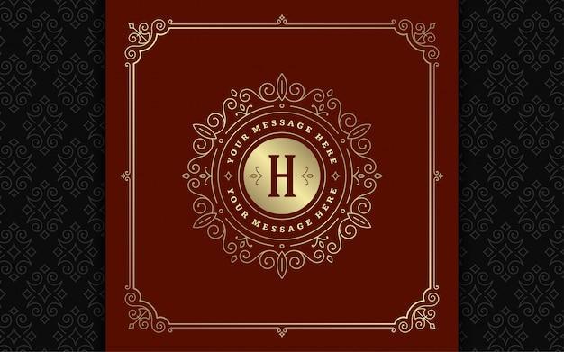 Vintage monogram logo elegante florece línea adornos de arte