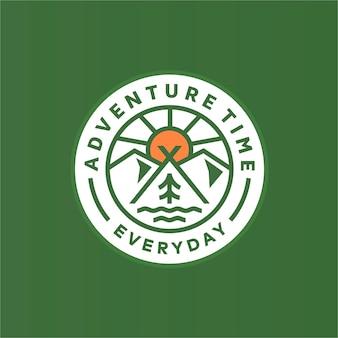 Vintage monoline badge hora de aventuras