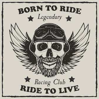 Vintage moto camiseta vector grunge ilustración