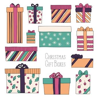 Vintage navidad o cumpleaños con cajas de regalo