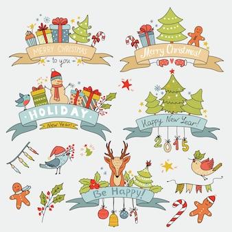 Vintage navidad con pancartas de cinta con renos, pájaros, cajas de regalo, árboles y otros elementos navideños. se puede utilizar para invitación, fiesta de decoración. ilustración vectorial