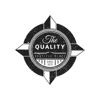 Vintage negro etiqueta monocromática textura lamentable decoración retro círculo banner sobre fondo blanco.