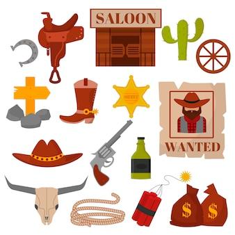 Vintage occidental viejos diseños occidentales muestra y gráficos vector iconos de vaquero.