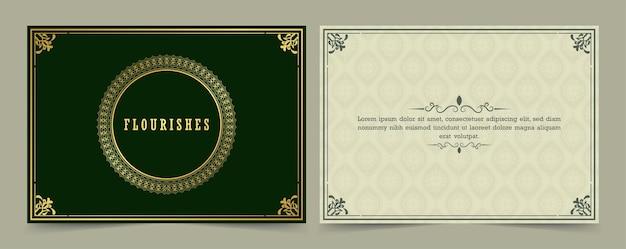 Vintage ornamento tarjeta de felicitación caligrafía ornamentada remolinos y viñetas