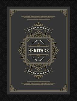 Vintage ornamento tarjeta de felicitación caligráficos ornamentados remolinos y viñetas