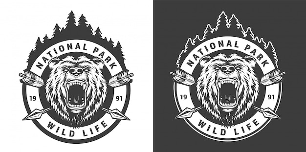 Vintage parque nacional monocromo emblema redondo