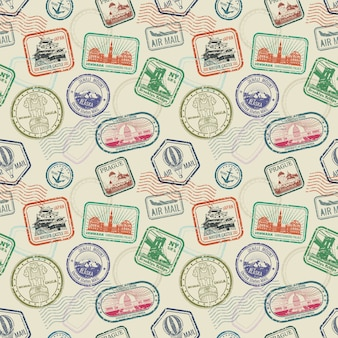 Vintage pasaporte viaje sellos de patrones sin fisuras