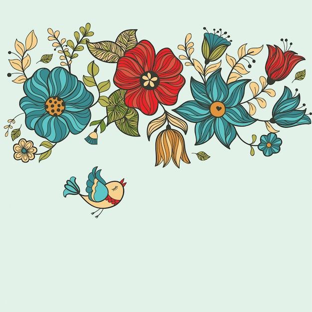 Vintage patrón floral sin fisuras.