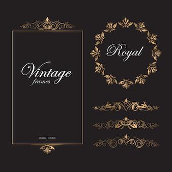 Vintage patrón retro marcos dorados tema real
