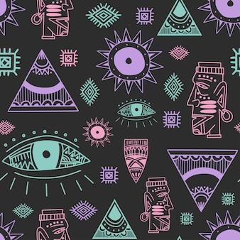 Vintage de patrones sin fisuras con dibujo de estilo africano de arte tribal