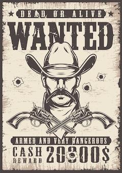 Vintage quería cartel del salvaje oeste