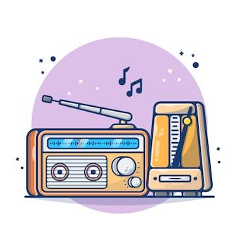 Vintage radio y cinta aislado en blanco