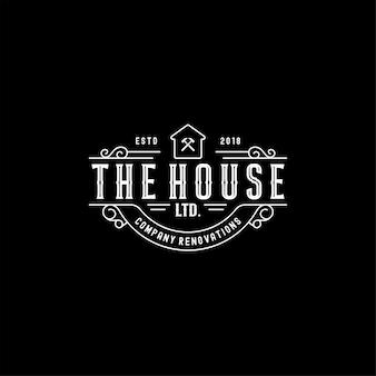 Vintage real estate house renovations diseño de logotipo
