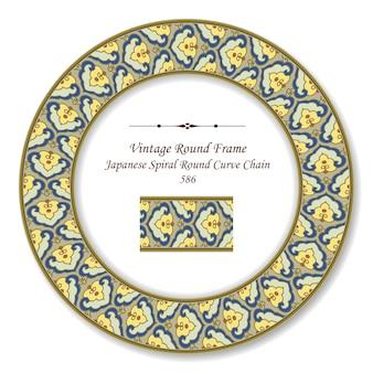 Vintage redondo retro marco espiral japonesa redonda redonda curva cadena
