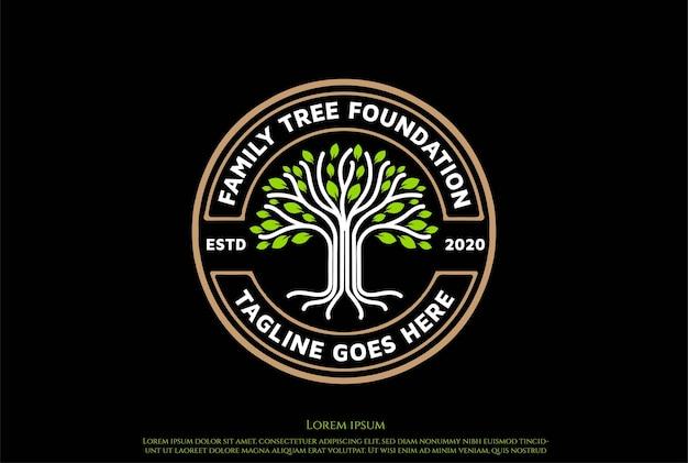 Vintage retro circular oak banyan tree of life badge label seal sticker logo design vector