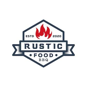 Vintage retro comida rústica parrilla de barbacoa, barbacoa, plantilla de diseño de logotipo de insignia de barbacoa