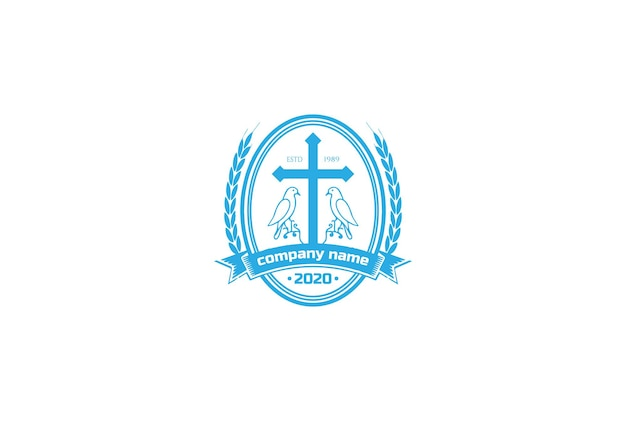 Vintage retro jesús christian cross con dove pigeon bird badge emblem para church chapel logo design vector