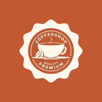 Vintage retro rústico cafetería emblema etiqueta insignia sello logo con granos de café
