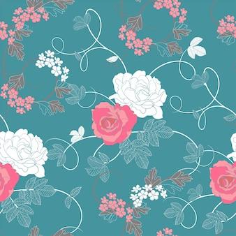 Vintage rosa patrón floral sin fisuras