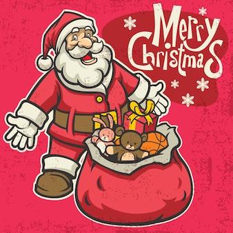 Vintage santa saludo navidad