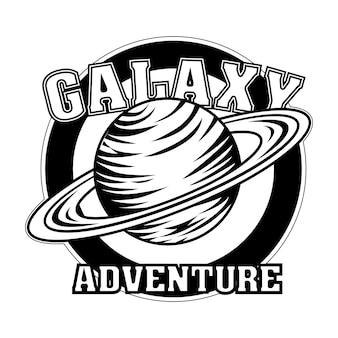 Vintage saturno en la ilustración de vector de emblema redondo. planeta monocromo con texto de aventura de galaxias