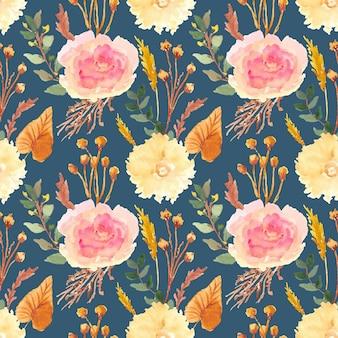 Vintage seco floral acuarela de patrones sin fisuras