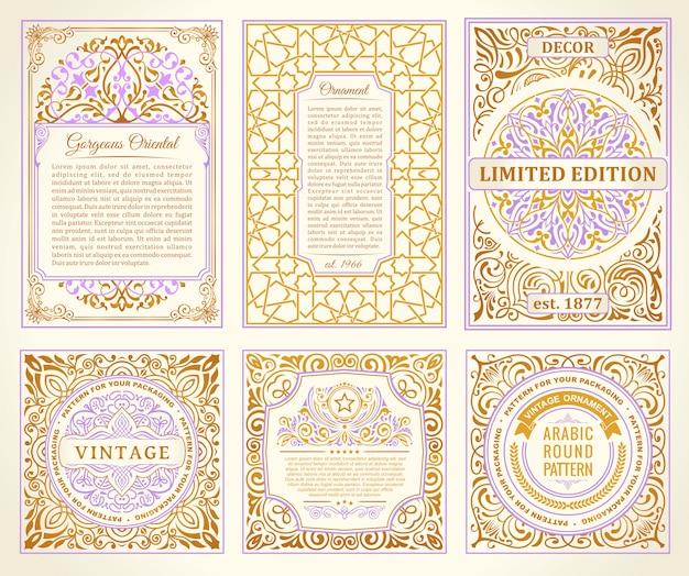 Vintage set tarjetas doradas
