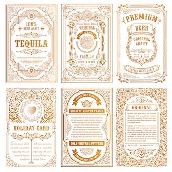 Vintage set tarjetas retro.