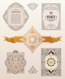 Vintage set tarjetas retro
