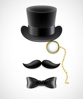 Vintage silueta de sombrero de copa, bigotes, monóculo y pajarita. ilustración.