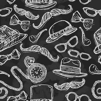Vintage sombreros y gafas de patrones sin fisuras