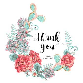 Vintage tarjeta de felicitación con flores florecientes