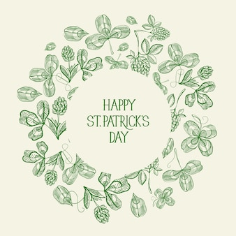 Vintage tarjeta de felicitación verde del día de san patricio con inscripción en marco redondo y boceto ilustración de vector de trébol irlandés