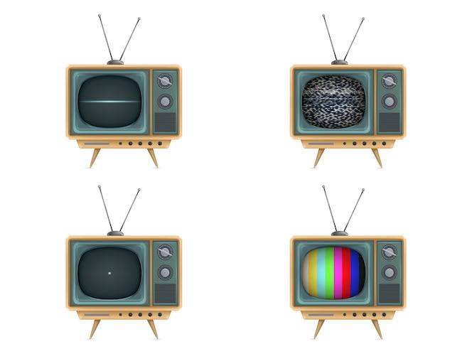 Vintage televisor, televisión. encendido, apagado, ruido blanco, tarjeta de prueba, puesta en marcha
