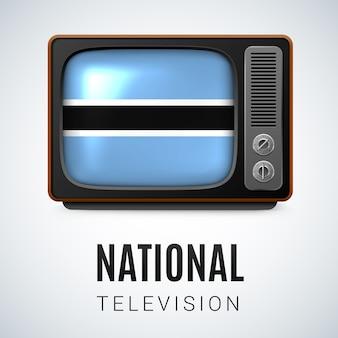 Vintage tv y bandera de botswana como símbolo de la televisión nacional botón con diseño de bandera