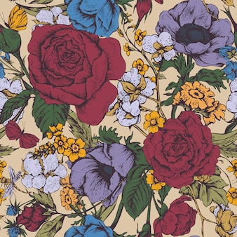 Vintage vector floral sin patrón, con rosas