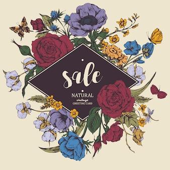 Vintage vector floral venta tarjeta con rosas, anémonas y butterf