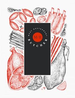 Vintage vector productos cárnicos. dibujado a mano jamón, salchichas, jamón, especias y hierbas. ilustración retro se puede usar para el menú del restaurante.
