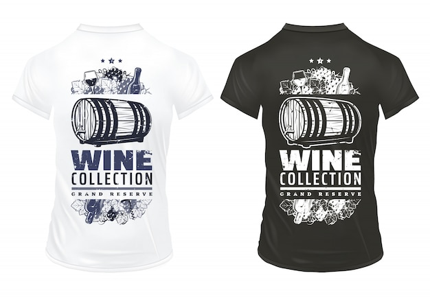 Vintage vino imprime plantilla en camisetas con inscripción botellas copas barril de madera de bebida alcohólica racimos de uva sacacorchos aislado
