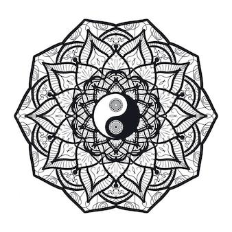 Vintage yin y yang en mandala