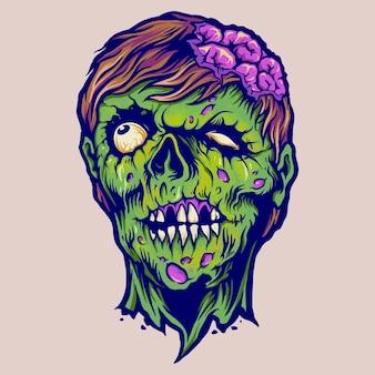 Vintage zombie horror ilustraciones vectoriales para su trabajo logotipo, camiseta de mercancía de mascota, pegatinas y diseños de etiquetas, carteles, tarjetas de felicitación, publicidad de empresas comerciales o marcas.
