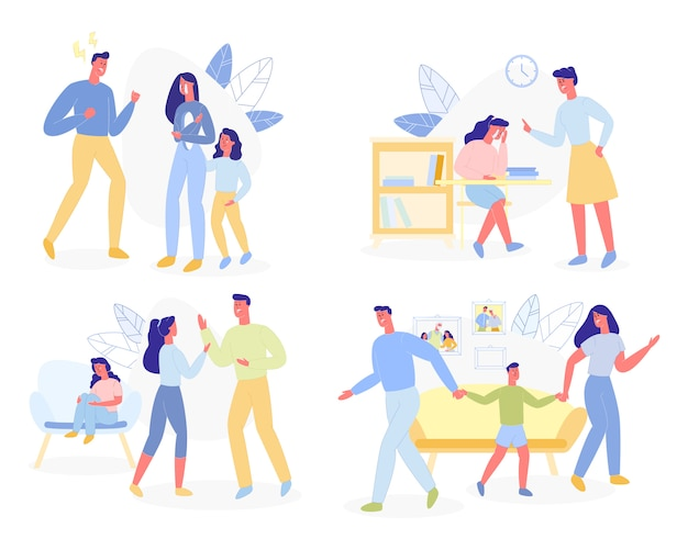 Violencia familiar, padres agresivos niños conflictos
