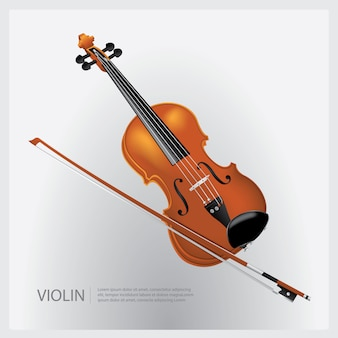 El violín realista de instrumento musical con una ilustración vectorial fiddle stick
