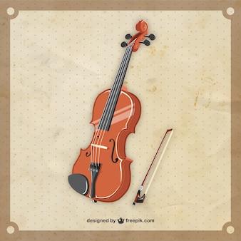 Violín retro en estilo realista vector gratuito