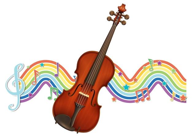 Violín con símbolos de melodía en la onda del arco iris