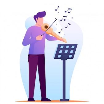 Violinista con ilustración de nota musical