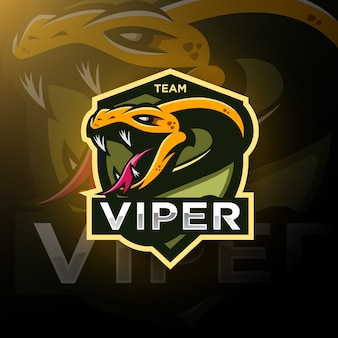 Viper snake head gaming logo esport